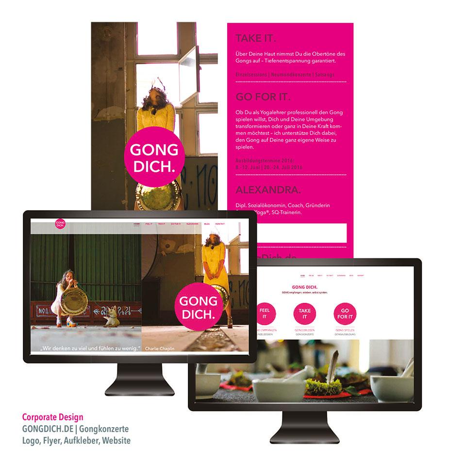 Gong dich Webseite, Flyer Alexandra Schumacher